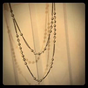 Express silver double chain pearl jeweled necklace